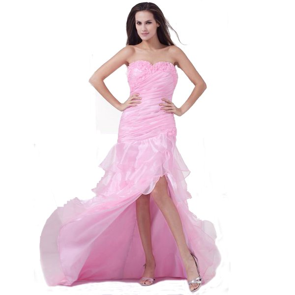 Fashionable Style Princess Evening Dress Sweetheart Ladies Ruffle Organza Bandage Ball Gown With Slit Free Shipping
