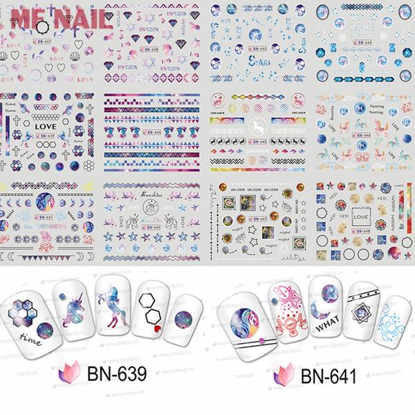Unicorn/Geometry/Diamond Nail Sticker Cute Unicorn Nail Art Water Decals Decorations Water Slide Tattoo Adhesive-Self DIY