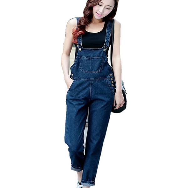 Wholesale- LinsDenim Women denim jumpsuit three-color bib pants preppy style plus size jeans female trousers jumpsuit