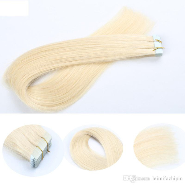 Re ika 20pc lot tape hair exten ion 16 24 inch 039 tape in human hair exten ion liky traight pu kin weft moulti color