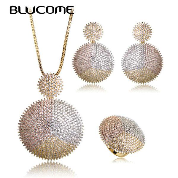 Blucome Luxury Three Tones Colors Sun forma de la flor colgante, collar, pendientes, anillo, conjunto, brillantes, diamantes de imitación, conjuntos de joyas, para mujeres