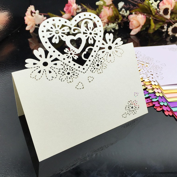 top popular Laser Cut Place Cards With Hearts Flowers Paper Carving Name Cards For Party Table Decorations Seating Place Cards For Weddings PC35 2020