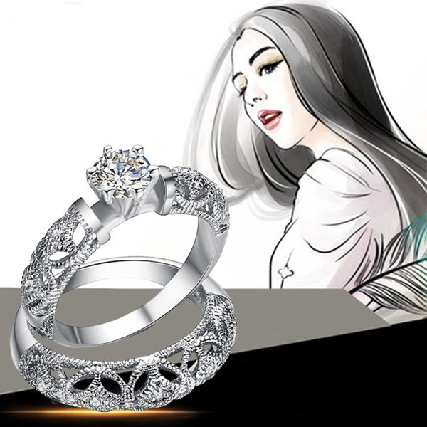 1 Pairs Of Men And Women Rings Hollow Silver Couple Ring To Ring Wedding Stylish and beautiful add temperament