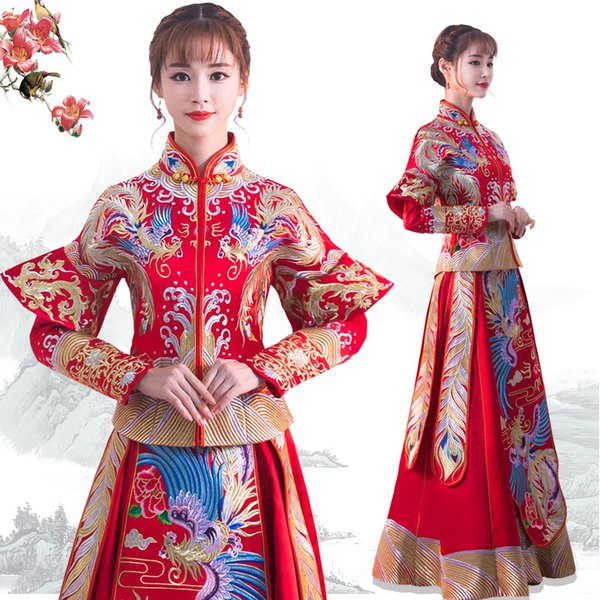 Chinese Style Women Qipao Handmade Embroidery Bride Wedding Trailing Dress Gown Phoenix Dragon Cheongsam Toast Marriage Suit