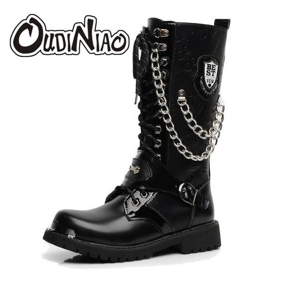 2019 OUDINIAO Army Boots Men High Military Combat Men Boots Mid Calf Metal Chain Male Motorcycle Punk Boots Spring Men's Shoes Rock Sneakers