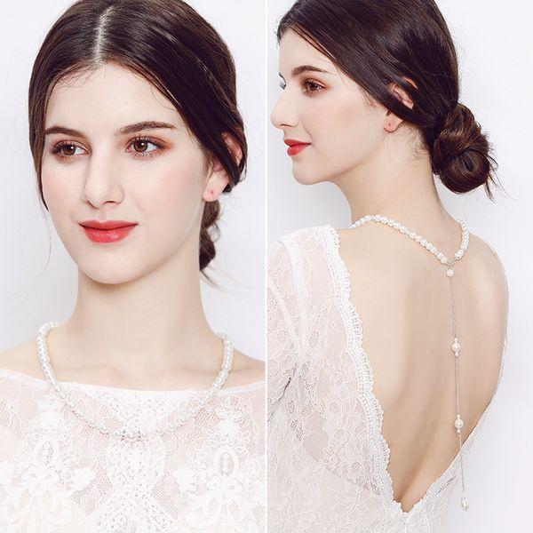 Modest Pearl Back Bridal Necklace Boho Wedding Back Necklace Bridal Jewelry Long Back Necklaces Bridal Backdrop Necklaces Body Chains