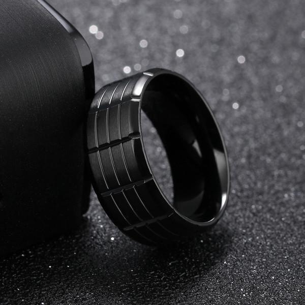 Anello da uomo in acciaio al titanio moda coreana personalità nera vintage marea maschile singolo indice anello di barretta gioielli anello inciso lettering G875F