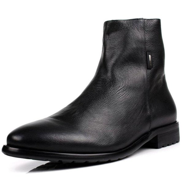 Men Boots Genuine Leather Italian Black Brown Luxury Fashion Casual Ankle Boots Men Shoes Male For Wedding Business