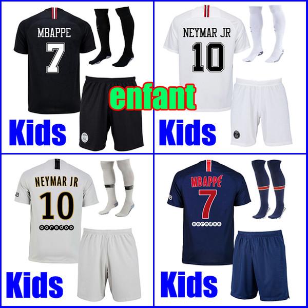 KIDS soccer jersey sets with socks maillots PSG aJ 2019 uniform Paris Saint MBAPPE 7 Germain 18 19 MBAPPE maillot de foot boys youth kit