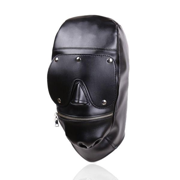 Nuovo design Bondage Gear Hood Muzzle Harness con Eye Pad rimovibile Maschera in pelle nera con cerniera in bocca Fetish Sex Toy Gimp B0306037