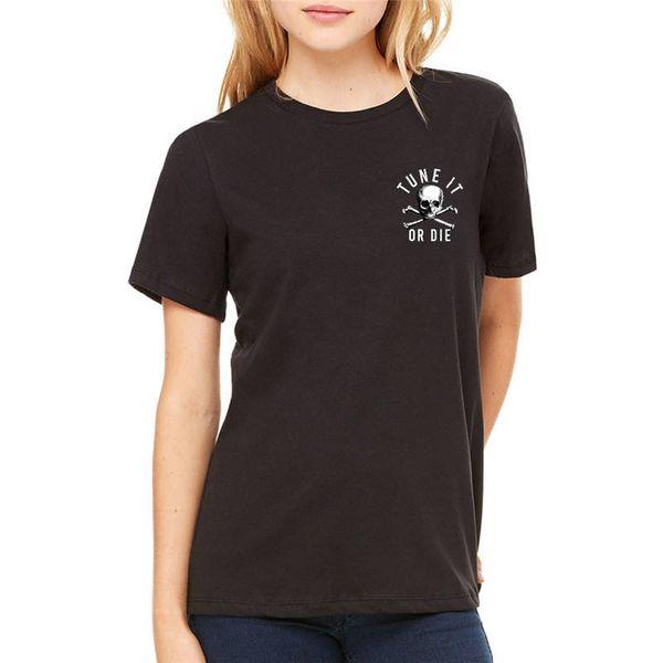 T Shirt Verão das Mulheres Curto Bonito Pedra Tune In Or Die Tripulação Pescoço Impresso Tee