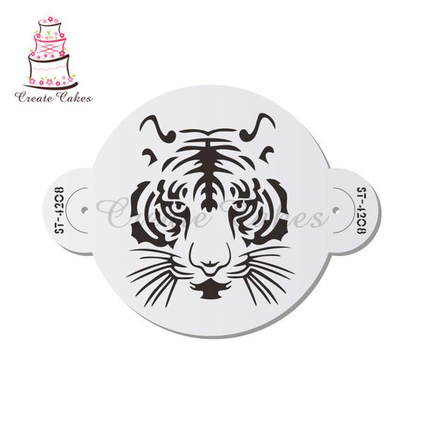 Big Tiger Face Stencil Plástico Bolo Decoração Do Bolo De Casamento Stencil Lado Fronteira Stencils para Pintura Ferramentas De Cozimento Mold