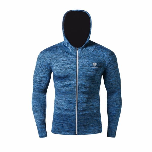 New Winter Autumn Hoodies Sport Shirt Men Hat Zipper Running Jacks Fitness Gym Sports Clothing Sport Top Men's Sportswear 2018