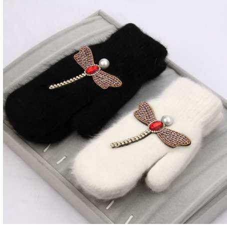 women Gloves winter Crystal dragonfly Rabbit fur brand gloves for female double warm full finger Mittens Christmas gifts