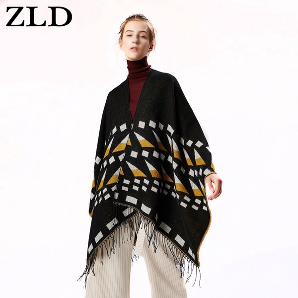 ZLD Autumn Winter Knitted Wrap Poncho Cape Stripe Cardigan Sweater Long Shawl Scarf acrylic  Women Tippet