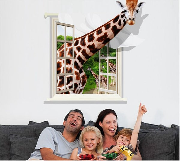 3D giraffe wall sticker for Kids Super large Animal wall Mural Decal for living room Bedroom Decoration