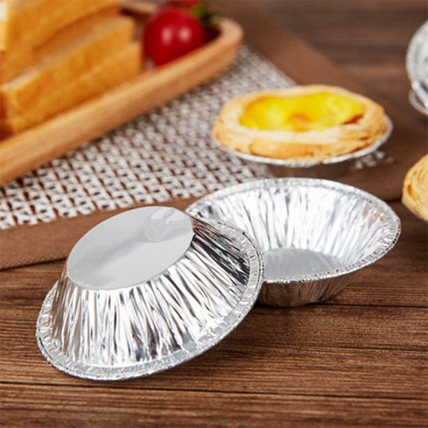 Egg Tart Mold Aluminium Foil Tart Mould Baking Tool Cupcake Fruit Tart Molds 7cm Diameter Disposable 250pcs