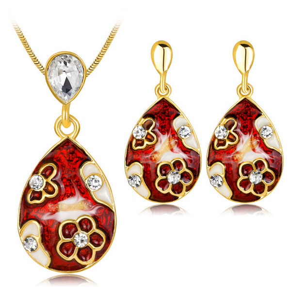 Earrings Necklace 2-Piece Set Jewelry Fashion Women Vintage Rhinestone Color Painted Gold Plated Water Drop Style Party Jewelry Set JS578
