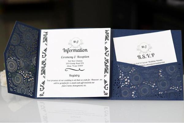 Gorgeous Dark Blue Invites Laser Cut Wedding Invitations Pocket Wedding invitation Laser Cut Jacket Purple Shimmer Laser Cut Many Colors