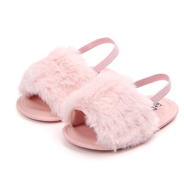 Infant Girls Soft Sole Shoes Plush Slide Sandal Summer Toddler Sandal Princess Non-slip Crib Shoes
