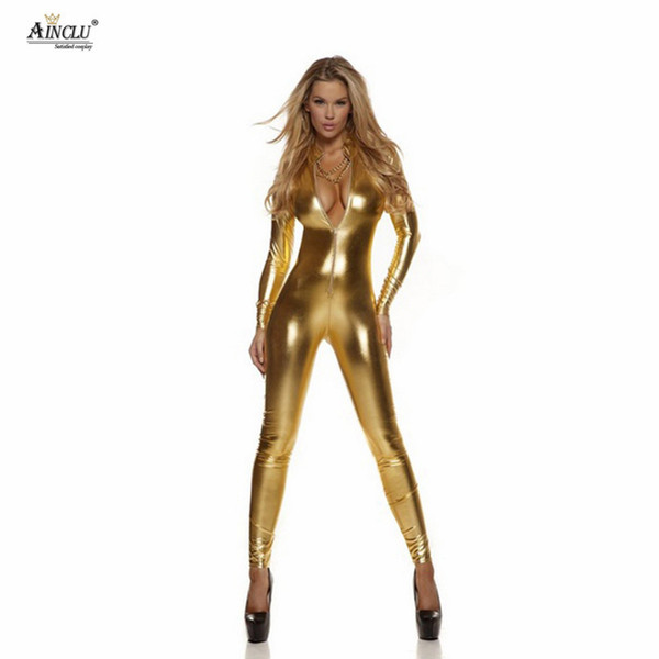 Ainclu High Quality Glue Tights Hot Selling Cosplay Costumes Glue Gold Catsuit for Hallween female Zentai for Adults Fanny Dress