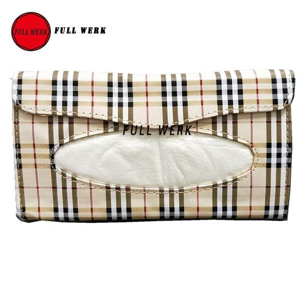 Plaid Auto Sonnenblende Tissue Box Bag Container Auto Zubehör Halter Papier Serviette Clip PU Ledertasche mit Tissue