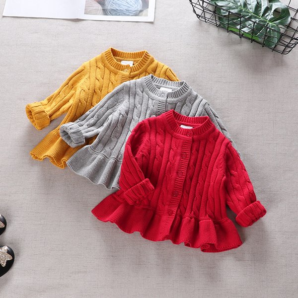 Baby Girls Ruffle Cable Cardigan Sweaters Fall 2018 Kids Boutique Clothing 1-4T Little Girls Cotton Solid Color Knitting Dress Tops