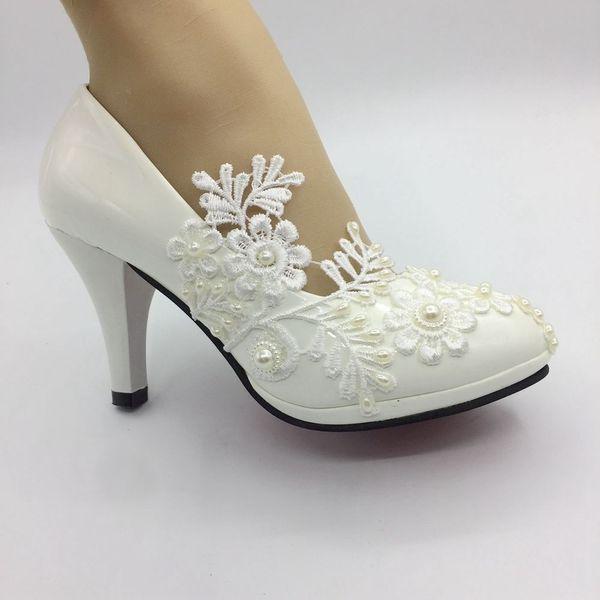 Handmade Women white ribbon Wedding shoes High heels ballet lace flower Bridal Bridesmaid shoes size EU 35-41
