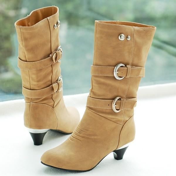 Hot Sale Womens Winter Boots Shoes Low Heels Mid Calf Boots For Women Flock Leather Plus Big Size:35-43 ZB770