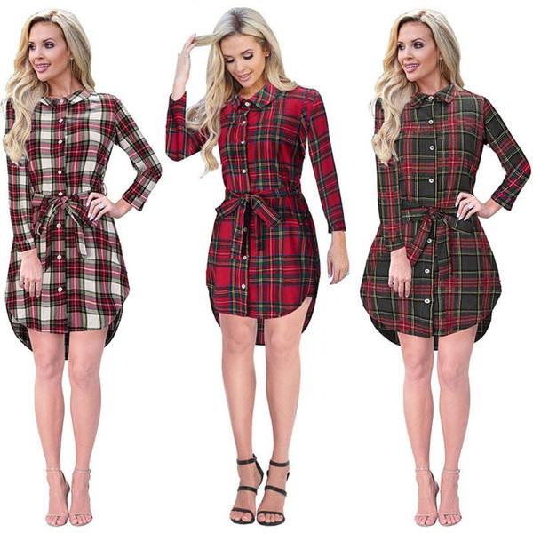 Women shirt dress autumn spring Waist tie plaid lapel shirt dress Irregular split skirt Long sleeve single breasted womens clothes