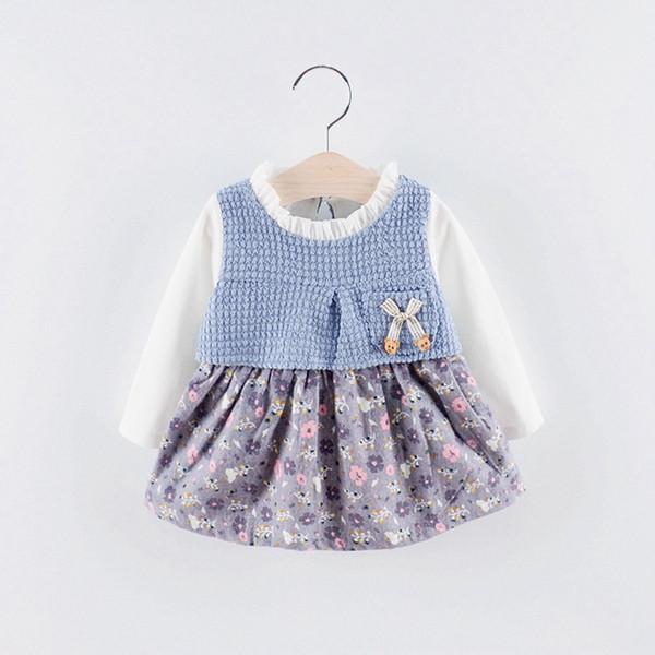 Nova Primavera Outono Meninas Do Bebê Roupas de Algodão de Manga Comprida Malhas Floral hem Tutu Vestido de Princesa Crianças Vestido de Festa C704