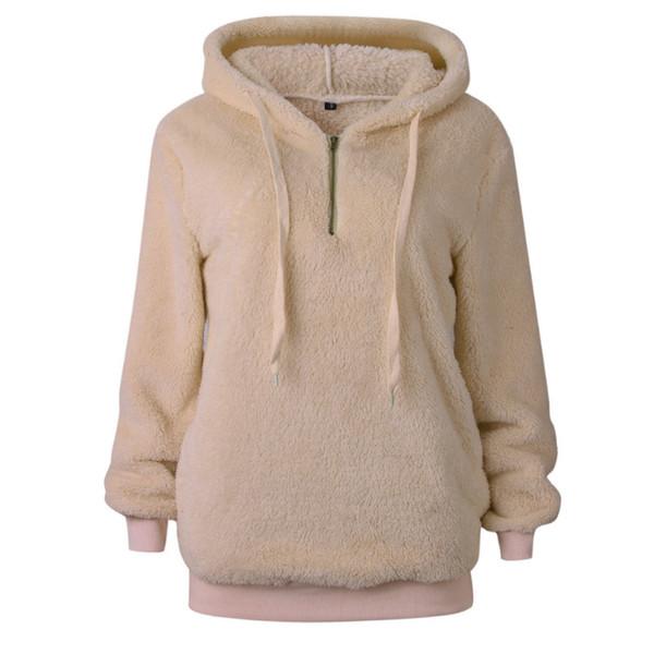 Autumn Winter Hooded Sweatshirts Womens Long Sleeve Pullover Woollen Sweatshirt Top Coats Casual Plus Size Warm Outwear WS9478U