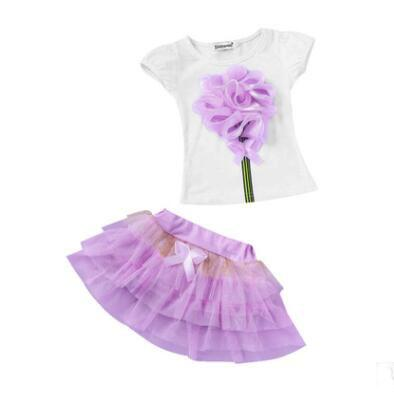 Summer childrens skirt set clothes Kids Girls Princess Flower Bow T shirt suit Tulle skirt and t shirt sets