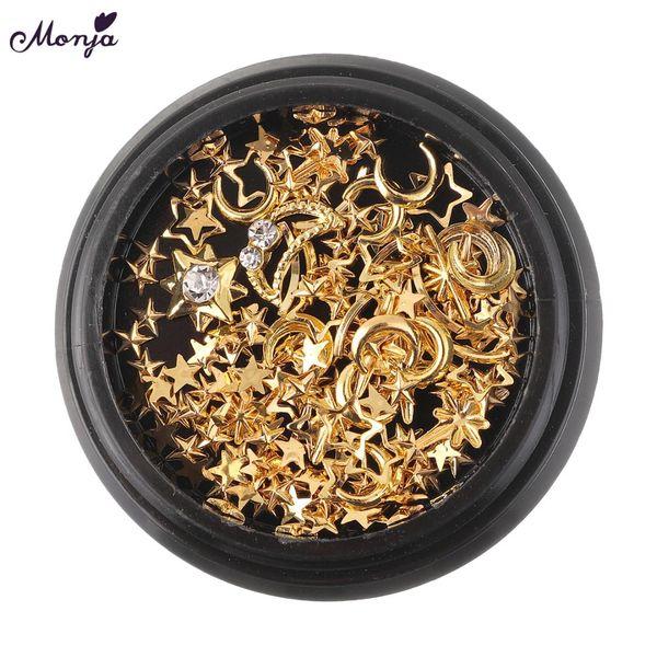 Monja 3 Type Nail Art Rhinestones Crystal Glass Gems Charms Gold Metal Rivet Studs Mixed 3D DIY Hollow Decoration Accessories
