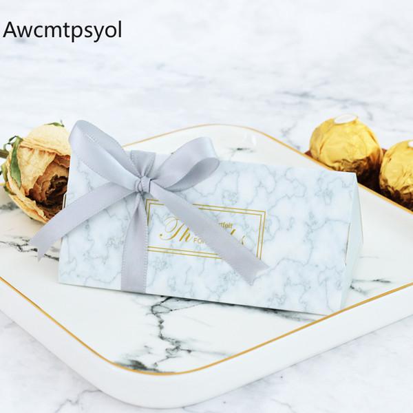 Nuevo regalo de boda de mármol Cajas de chocolate Papel Caja de dulces con cinta Paquete dulce Decoraciones de la boda Baby Shower Suministros para fiestas