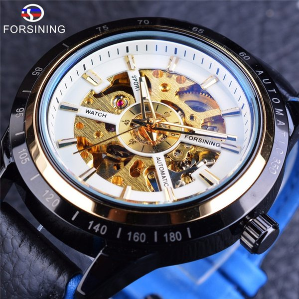 Forsining Blue Genuine Leather Military Automatic Sport Wrist Watch Transparent Open Work Skeleton Men Watch Top Luxury