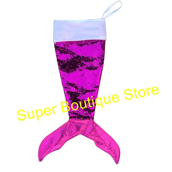 2018 Hot venda de moda 5 estilos de Natal lantejoulas sereia cauda meias monogrammed lotação crianças doces bag X-mas decoração