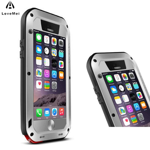 new concept 09e84 2d8d1 Love Mei For Funda Iphone 6 Case Extreme Powerful Life Shockproof Aluminum  Metal For Iphone 6 6s Plus Case Cover Rugged Tempered Leather Cell Phone ...