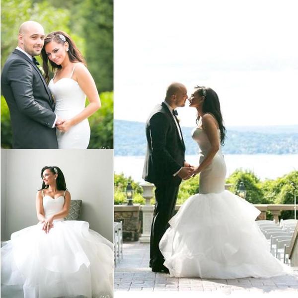 2019 sexy elegante bianco spaghetti cinghie sirena abiti da sposa gonne di tulle puffy backless beach su misura abiti da sposa africano ba9980