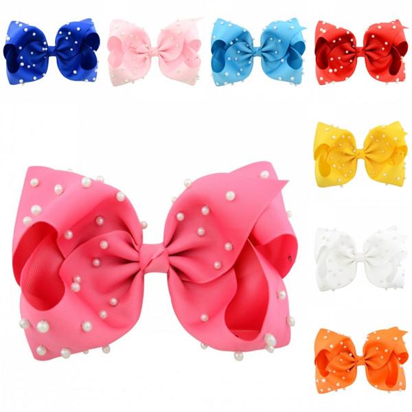 JOJO 8 pulgadas perla cinta arco cocodrilo Clip para niños niña 12 colores hechos a mano arcos del pelo perlas Barrettes Bowknot gratis DHL H957R