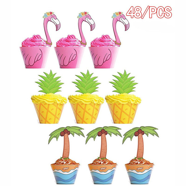 DIY Cupcake Toppers Wrappers Tropical Hawaiian Flamingo/Pineapple/Palm Wedding Birthday Party Supplies Wedding dessert Cake Decorations