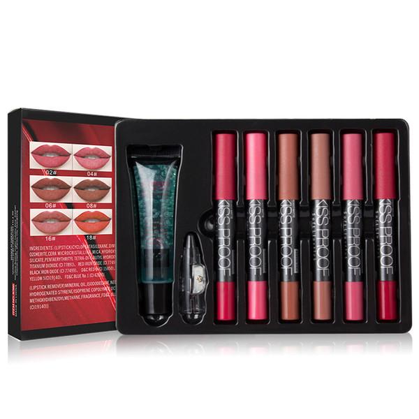 MENOW Marke Make-up Set 6 Kuss Proof Lipstick Anspitzer Entferner Kosmetische Kombination Wasserdichte Lippe machen