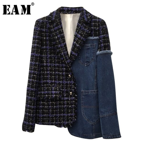 [EAM] 2018 New Autumn Winter Lapel Long Sleeve Blue Denim Plaid Stitch Irregular Loose Jacket Women Coat Fashion Tide JI747