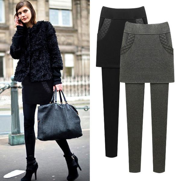 EU Add Fleece Leggings Lady Warm fitness Skinny Pants Plus Size S-6XL Skirt + Long Trousers Women Black Winter Cotton Leggings