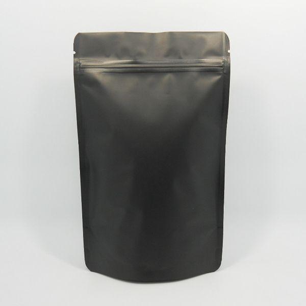 100Pcs/ Lot 10*15cm Zipper Matte Black Doypack Pure Aluminum Foil Valve Pouch Food Storage Heat Seal Mylar Stand Up Package Bags