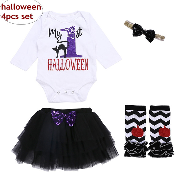 0-18M Baby Halloween Outfit Infant Long sleeve romper & skirt & legwarmer 4pcs Sets Kids Unisex Autumn Clothing