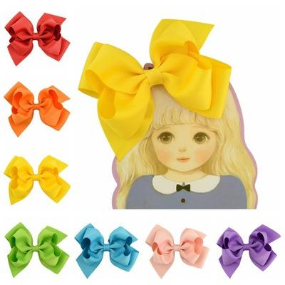 """20 Pcs 4.5"""" Girls Boutique Hair Accessories Fashion Solid Grosgrain Ribbon Bow With Clip For Kids Hair Accessories HD670"""