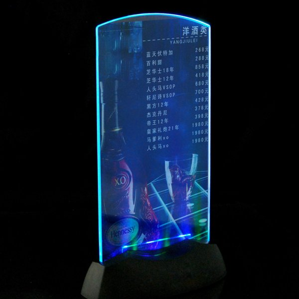 Acrylic LED light Menu Holder specials advertisements Display LED Label Board Lobby Restaurant Hotel Bar Decor light Menu