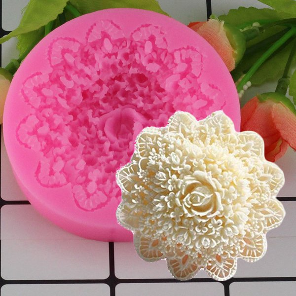 Mujiang Rose Flower Lace Silicone Mold Wedding Fondant Cake Decorating Moulds Chocolate Candy Molds 3D Craft Soap Moulds