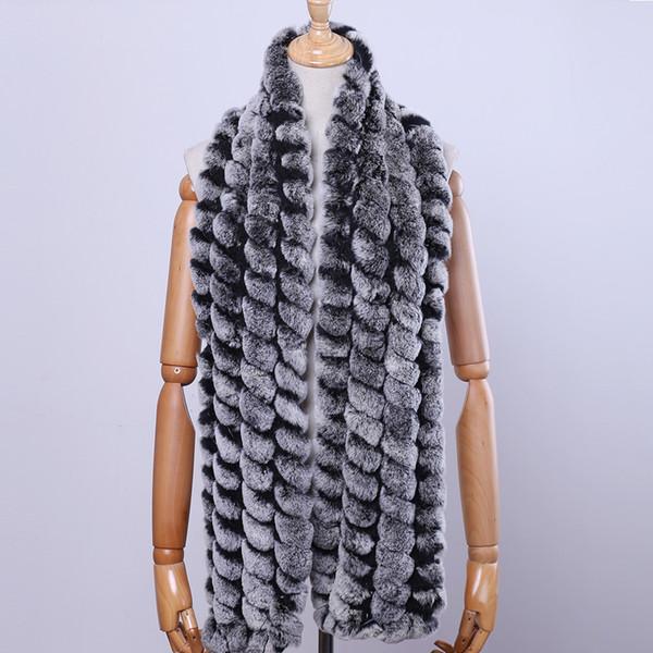 New Unisex Women's Men's Genuine Real Rex Rabbit Fur Scarf Winter Scarves Natural Fur Wraps Hand Knitted Neckercheif Soft Warm